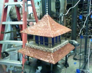Pagoda house for Japanese screen
