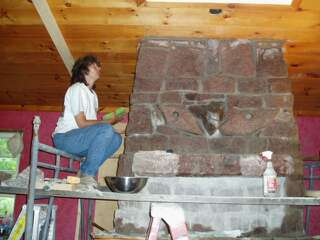 Karen cleaning stone work