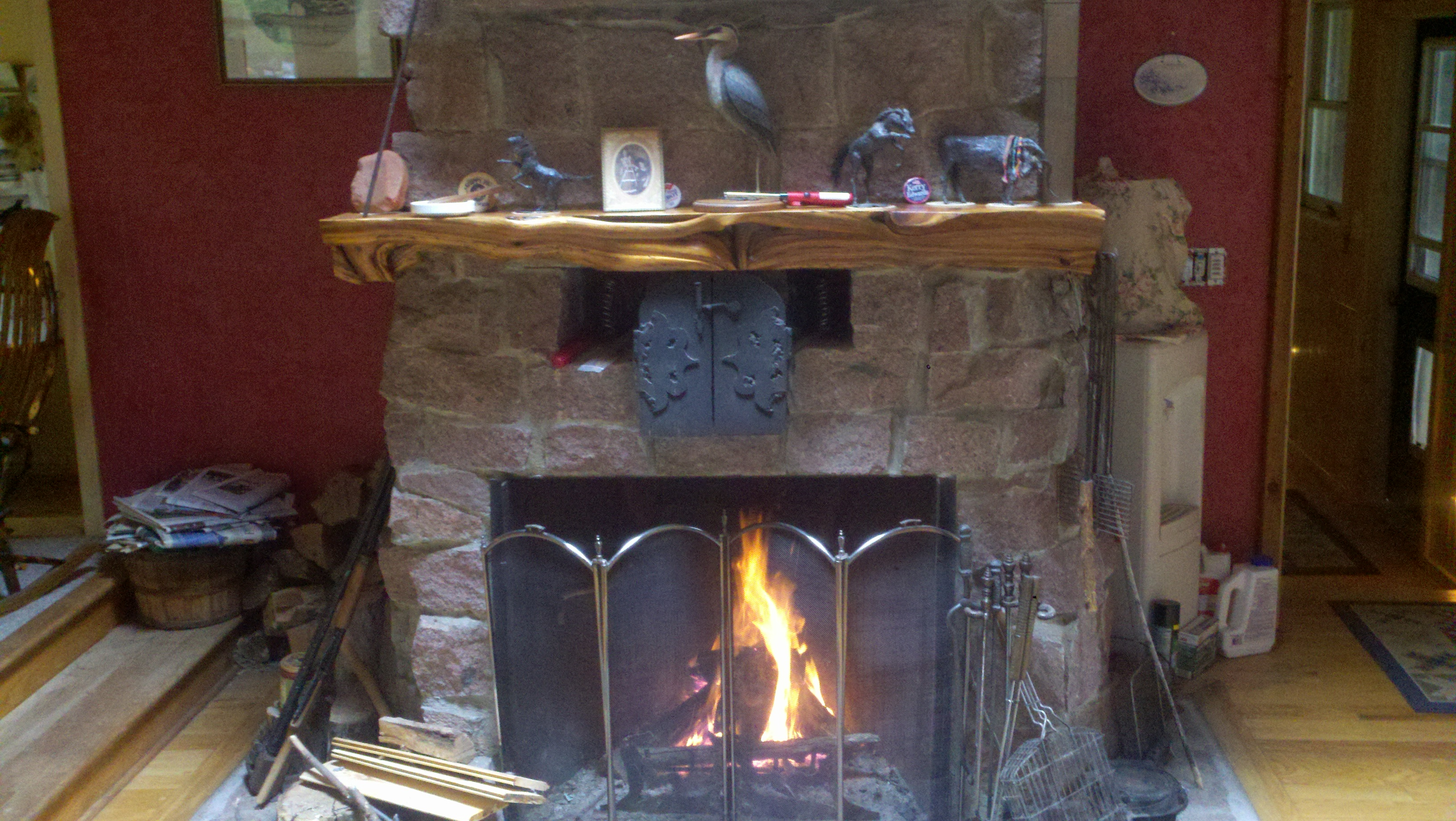 Our fireplace in the Grindstone stonehouse