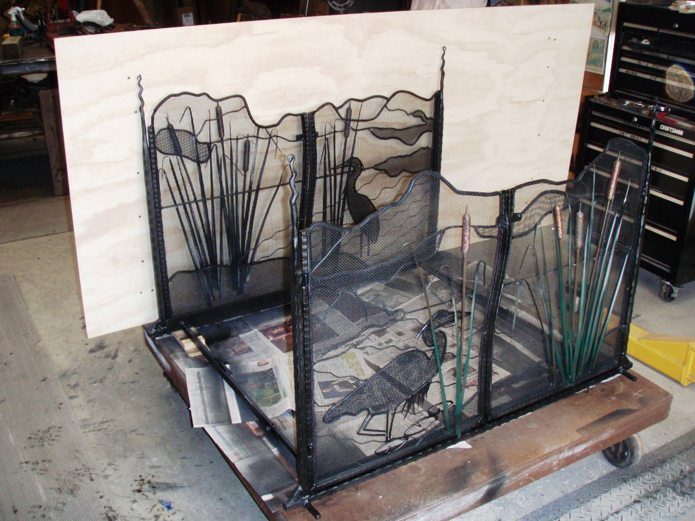 Double fire place screens