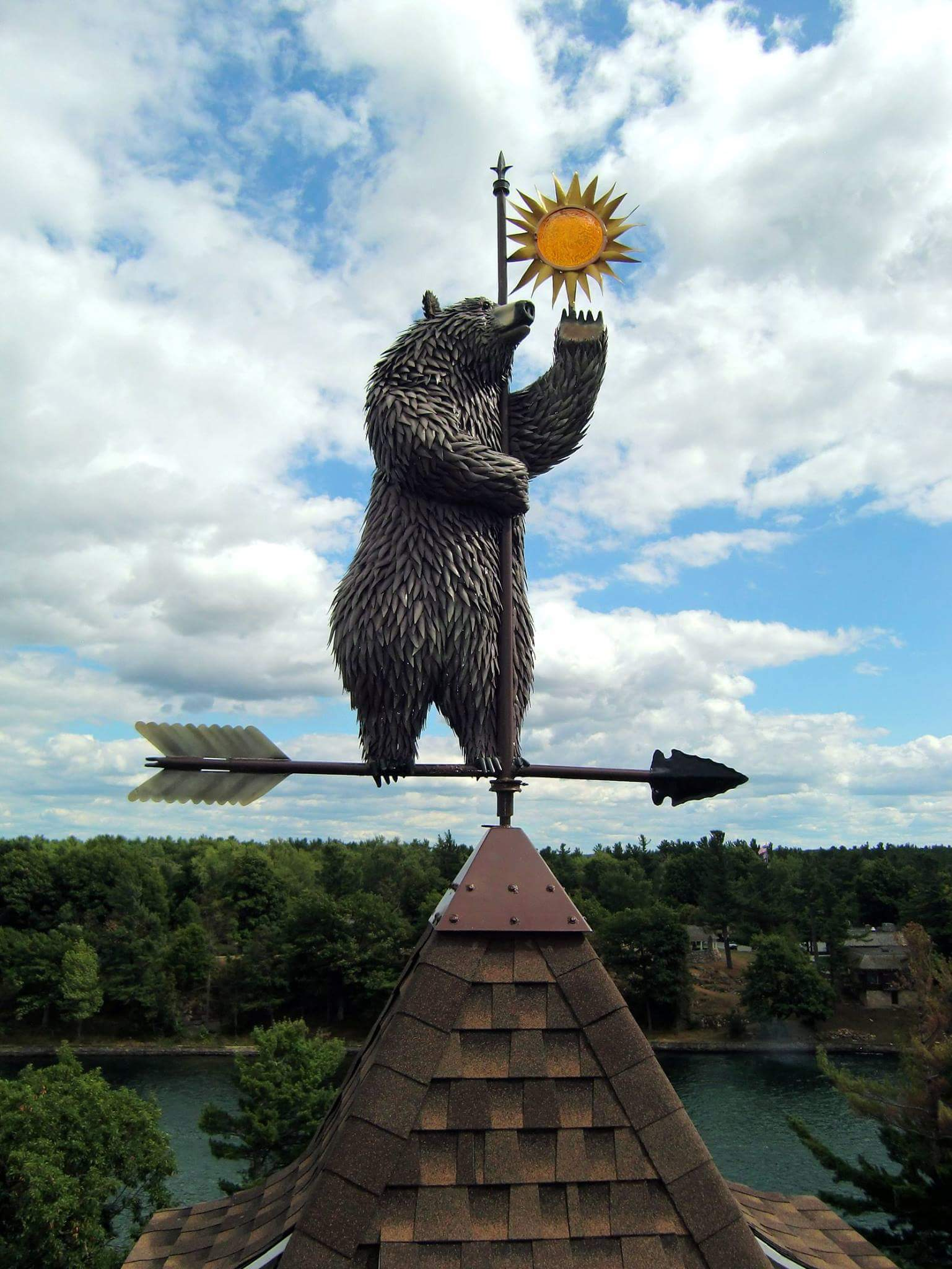 Standing Bear weathervane, 2015. Welded steel