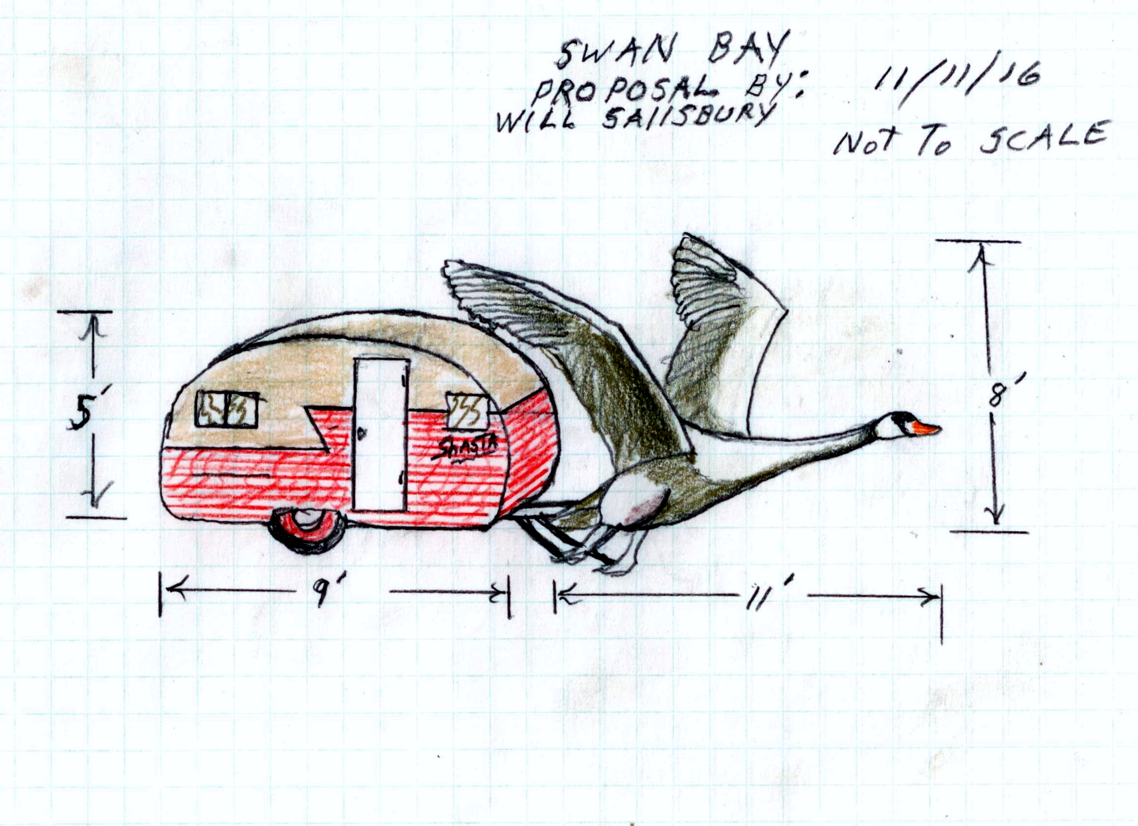 Trailer and Swan Drawing 3