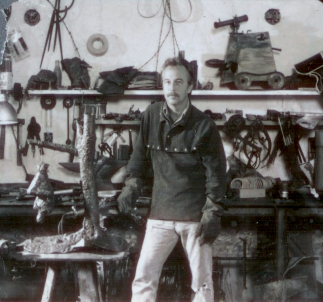 Will in the new Omar shop 1991. Torch welding works and inspired by Richard Merchant's welded master pieces